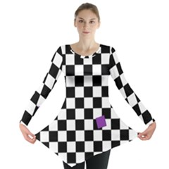 Dropout Purple Check Long Sleeve Tunic  by designworld65