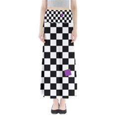 Dropout Purple Check Full Length Maxi Skirt by designworld65