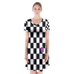 Dropout Purple Check Short Sleeve V-neck Flare Dress