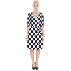 Dropout Purple Check Wrap Up Cocktail Dress by designworld65