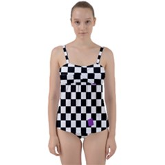 Dropout Purple Check Twist Front Tankini Set