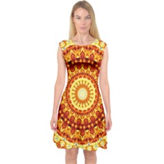 Powerful Love Mandala Capsleeve Midi Dress by designworld65