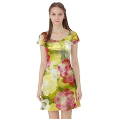 Flower Power Short Sleeve Skater Dress by designworld65