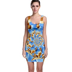 Gold Blue Bubbles Spiral Bodycon Dress by designworld65