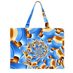 Gold Blue Bubbles Spiral Zipper Large Tote Bag by designworld65