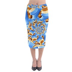 Gold Blue Bubbles Spiral Midi Pencil Skirt by designworld65