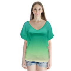 Sealife Green Gradient Flutter Sleeve Top
