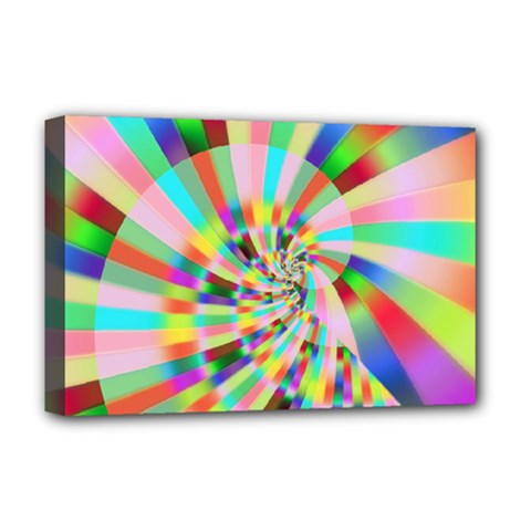 Irritation Funny Crazy Stripes Spiral Deluxe Canvas 18  X 12   by designworld65