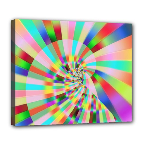 Irritation Funny Crazy Stripes Spiral Deluxe Canvas 24  X 20   by designworld65