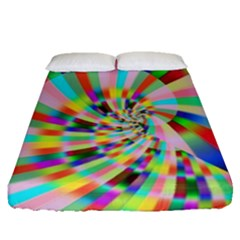 Irritation Funny Crazy Stripes Spiral Fitted Sheet (queen Size) by designworld65