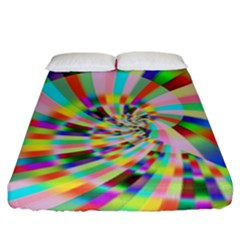Irritation Funny Crazy Stripes Spiral Fitted Sheet (king Size) by designworld65