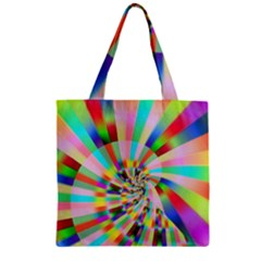 Irritation Funny Crazy Stripes Spiral Zipper Grocery Tote Bag by designworld65