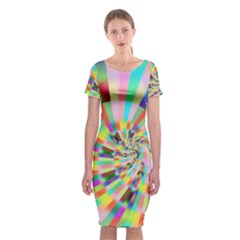 Irritation Funny Crazy Stripes Spiral Classic Short Sleeve Midi Dress by designworld65