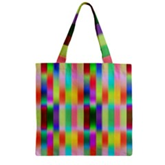 Multicolored Irritation Stripes Zipper Grocery Tote Bag by designworld65