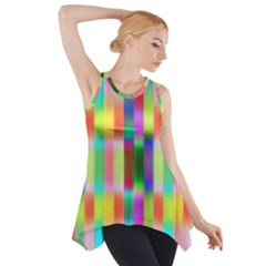 Multicolored Irritation Stripes Side Drop Tank Tunic by designworld65