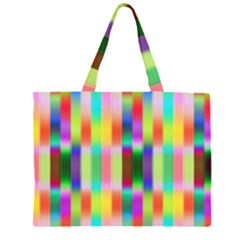 Multicolored Irritation Stripes Zipper Large Tote Bag by designworld65