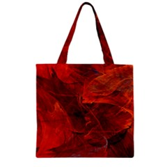 Swirly Love In Deep Red Zipper Grocery Tote Bag by designworld65