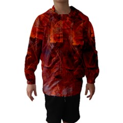 Swirly Love In Deep Red Hooded Wind Breaker (kids) by designworld65