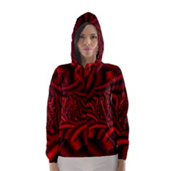 Metallic Red Rose Hooded Wind Breaker (women) by designworld65