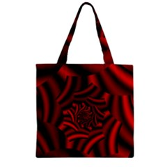 Metallic Red Rose Zipper Grocery Tote Bag by designworld65