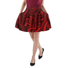 Metallic Red Rose A Line Pocket Skirt by designworld65