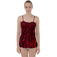 Metallic Red Rose Babydoll Tankini Set