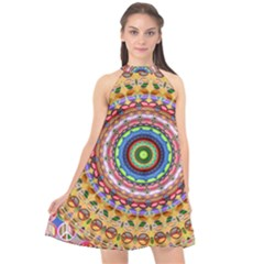 Peaceful Mandala Halter Neckline Chiffon Dress  by designworld65