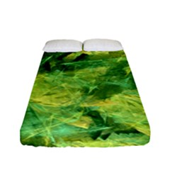 Green Springtime Leafs Fitted Sheet (full/ Double Size) by designworld65