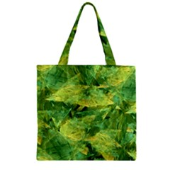 Green Springtime Leafs Zipper Grocery Tote Bag by designworld65