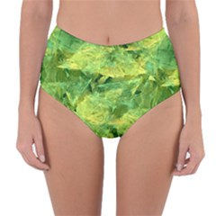 Green Springtime Leafs Reversible High Waist Bikini Bottoms by designworld65