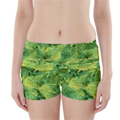 Green Springtime Leafs Boyleg Bikini Wrap Bottoms by designworld65
