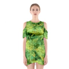 Green Springtime Leafs Shoulder Cutout One Piece by designworld65