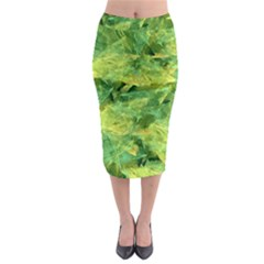 Green Springtime Leafs Midi Pencil Skirt by designworld65