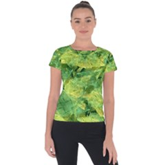Green Springtime Leafs Short Sleeve Sports Top  by designworld65