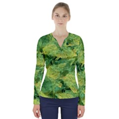 Green Springtime Leafs V Neck Long Sleeve Top