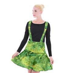 Green Springtime Leafs Suspender Skater Skirt by designworld65