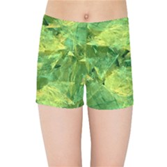 Green Springtime Leafs Kids Sports Shorts by designworld65