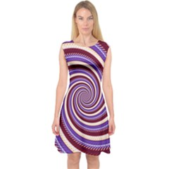 Woven Spiral Capsleeve Midi Dress by designworld65