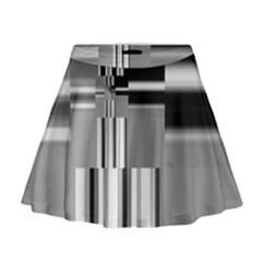 Black And White Endless Window Mini Flare Skirt by designworld65