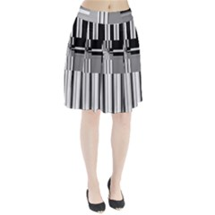 Black And White Endless Window Pleated Skirt by designworld65