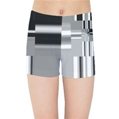 Black And White Endless Window Kids Sports Shorts by designworld65