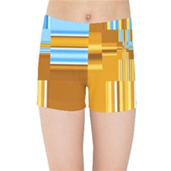 Endless Window Blue Gold Kids Sports Shorts by designworld65