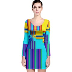 Colorful Endless Window Long Sleeve Velvet Bodycon Dress by designworld65