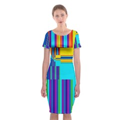 Colorful Endless Window Classic Short Sleeve Midi Dress by designworld65