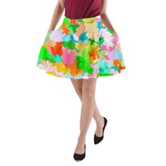 Colorful Summer Splash A Line Pocket Skirt by designworld65
