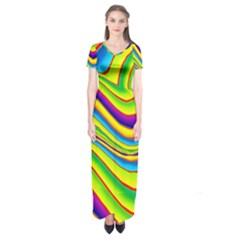 Summer Wave Colors Short Sleeve Maxi Dress by designworld65