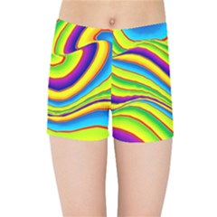Summer Wave Colors Kids Sports Shorts by designworld65