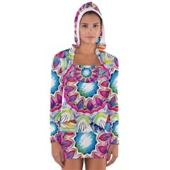 Sunshine Feeling Mandala Long Sleeve Hooded T Shirt