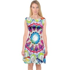 Sunshine Feeling Mandala Capsleeve Midi Dress