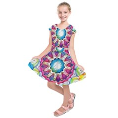 Sunshine Feeling Mandala Kids  Short Sleeve Dress